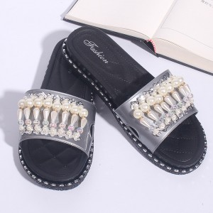 Pearl Decorated Flats Soft Rubber Female Slippers- Gray