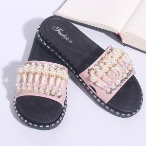 Pearl Decorated Flats Soft Rubber Female Sandals - Pink
