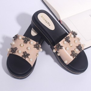 Pearl Bohemian Spider Flat Soft Rubber Sole Sandals - Pink