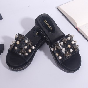 Pearl Bohemian Spider Flat Soft Rubber Sole Sandals - Black