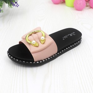 Pearl Decorated Flat Outdoor Female Slippers- Light Pink