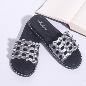 Rivets Soft Rubber Sole Flat Summer Female Sandals - Gray