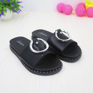 Ring Patched Special Flat Wear Party Sandals - Black