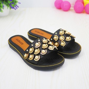 Pearl Patched Flat Wear Summer Sandals - Black
