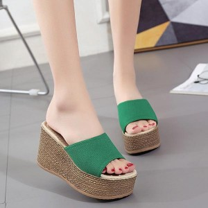 High-heeled Outdoor Thick Bottom Sandals - Green