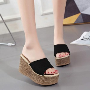 High-heeled Outdoor Thick Bottom Sandals - Black