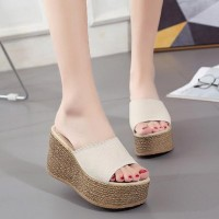 High-heeled Outdoor Thick Bottom Sandals - Beige