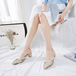 Tassel Special Party Wear Round Heel Party Shoes - Beige