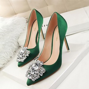 Rhinestones High Heel Shallow Mouth Wedding Shoes - Green