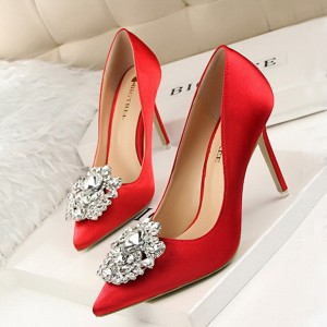 Rhinestones High Heel Shallow Mouth Wedding Shoes - Red