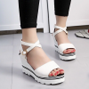 Thick Bottom Simple Strapped White Sandals