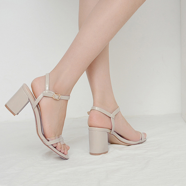 Patent Leather Buckle Closure High Heels Fashion Sandals - White