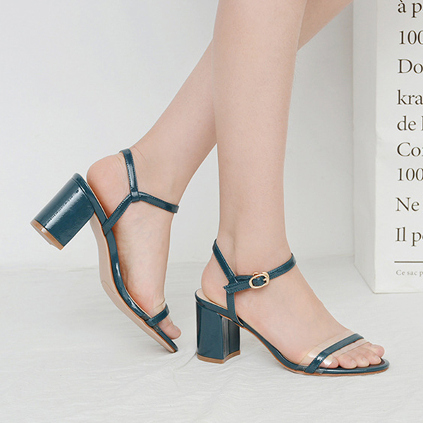 Patent Leather Buckle Closure High Heels Fashion Sandals - Blue