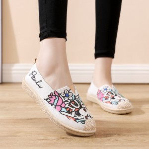 Soft Flat Canvas Floral Pregnant Women Shoes - Beige