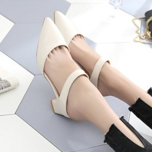 Strap Pointed PU Leather Formal Shoes - Beige