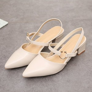 Ring Strap Casual Thick Heel Party Sandals - Beige