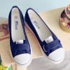 Shallow Mouth Single Strap Flat Shoes - Dark Blue