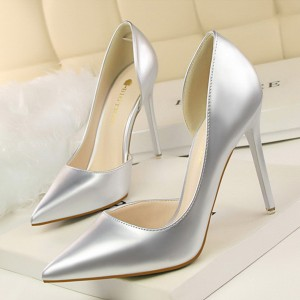 Pointed High Heel Party Wear Shoes - Silver
