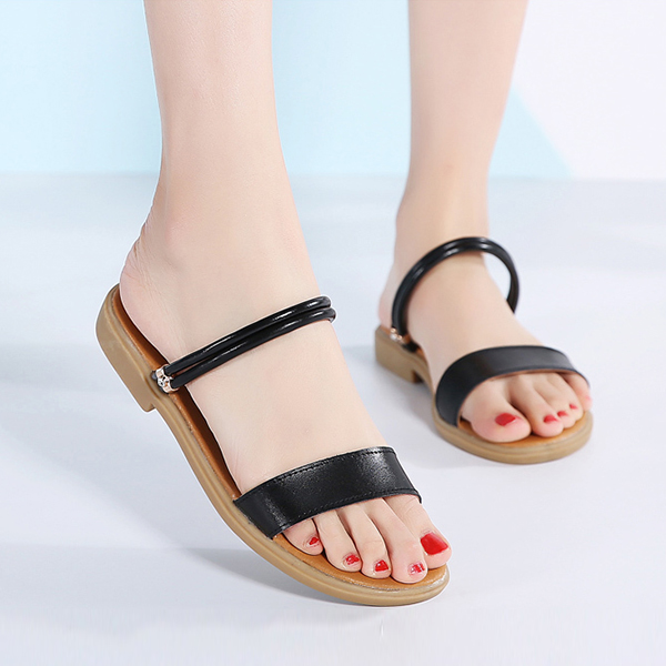 Flat Slip On Synthetic Leather Casual Sandals - Black