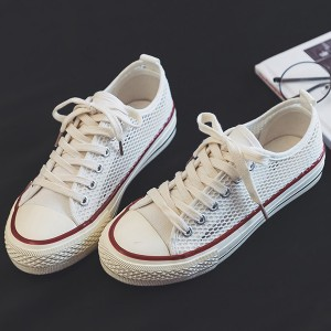 Lace Casual Wear Canvas Flat Sneakers - White