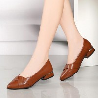 Short Heel Pointed Toe Work Office Flats - Brown