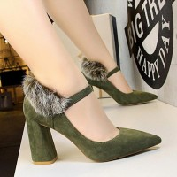 Woolen Back Pointed Toe Thick Heel - Green