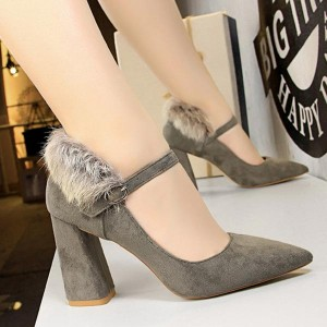 Woolen Back Pointed Toe Thick Heel - Gray