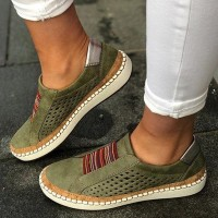 Breathable leisure Sports Flat Bottom Women Shoes - Green