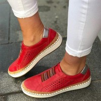 Breathable leisure Sports Flat Bottom Women Shoes - Red
