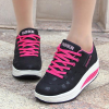 Lace Up Thick Sole Casual Sports Sneakers - Black