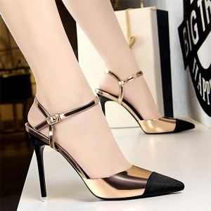 Waterproof Buckle Closer Thick Heel - Champagne