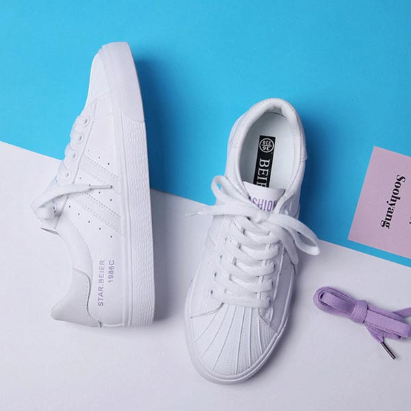 Casual Sportswear Breathable Flat Sole Sneakers - Purple