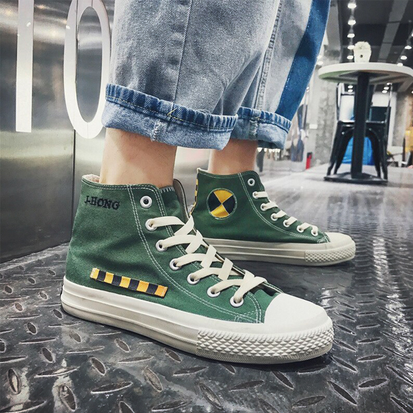 Long Laced Closure Flat Sneakers - Green