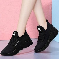 Breathable Non-slip Lace-up Casual Women Sneakers - Black
