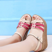 Thick Leather Sandals High Heels Fish Mouth Shoes Pink
