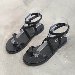 Strappy Casual Wear Flat Slippers Sandal - Black