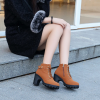 Laced Up Buckle Style Long Heel Shoes - Brown