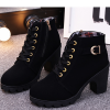 Laced Up Buckle Style Long Heel Shoes - Black