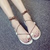 Stylish String Strap Flat Base Sandals - Brown