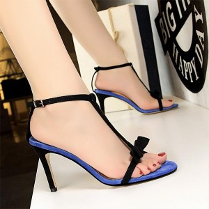 Bow Pattern Thick Stripes Thick Heels - Blue