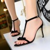 Bow Pattern Thick Stripes Thick Heels - Black