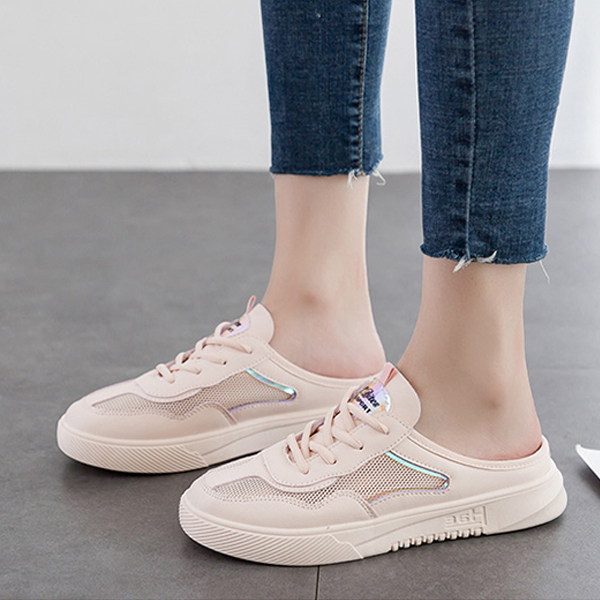 Laced Up Net Breathable Flat Open Sneakers - Pink
