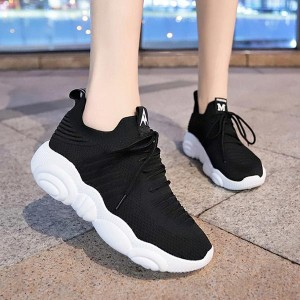 Mesh Pattern Breathable Sports Running Sneakers - Black