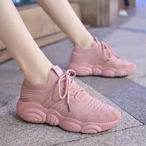 Mesh Pattern Breathable Sports Running Sneakers - Pink