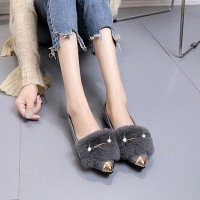 Furry Velvet Scoop Non-slip Women Causal Shoes - Gray