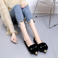 Furry Velvet Scoop Non-slip Women Causal Shoes - Black