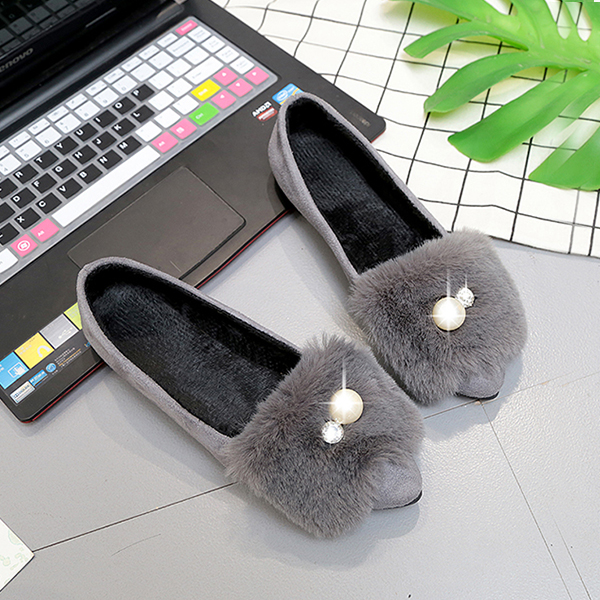 Furry Pearl Flat Wear Casual Shoes - Gray