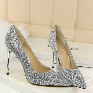 Glittered High Heel Synthetic Leather Pointed Shoes - Silver