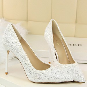 Glittered High Heel Synthetic Leather Pointed Shoes - White