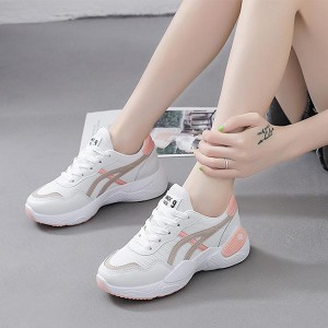 Flat Bottom Pu Leather Women Running Sports Shoes - Pink
